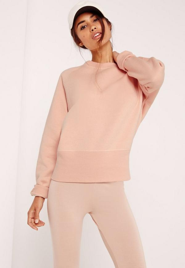 Brushed Back Deep Hem Sweatshirt Pink