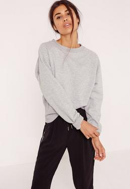 Brushed Back Deep Hem Sweatshirt Grey