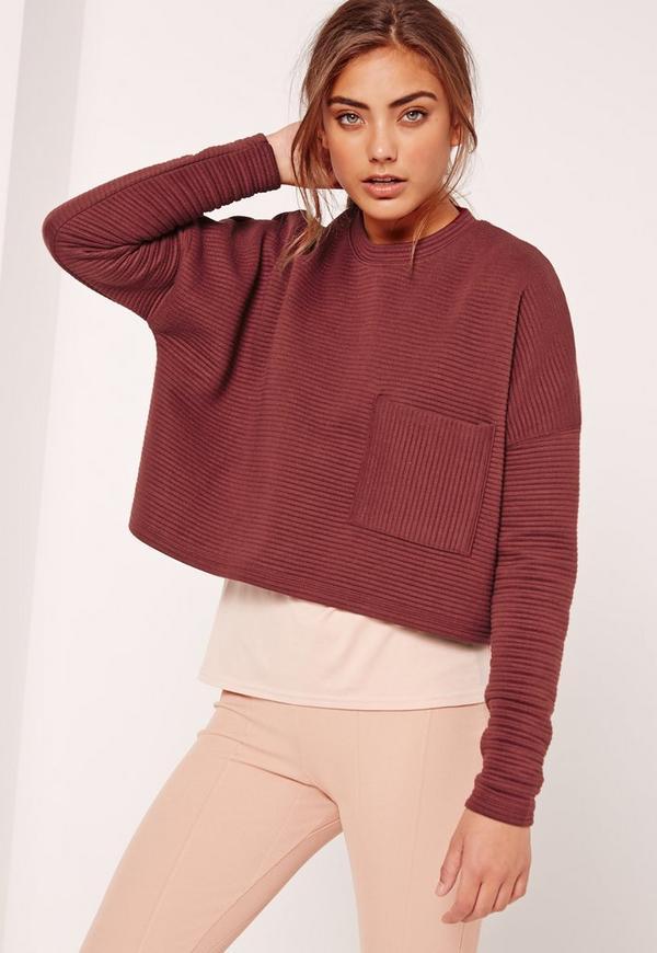 Ribbed Pocket Front Sweatshirt Burgundy