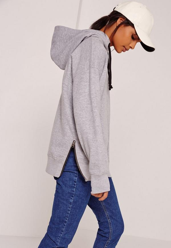 Zip Side Contrast Ties Hoodie Grey