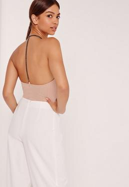 Chain Back Detail Ribbed Bodysuit Nude
