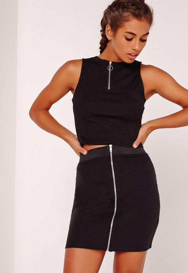 ring pull zip crop top black missguided. Black Bedroom Furniture Sets. Home Design Ideas