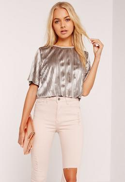 Grey Pleated Velvet Crop Top