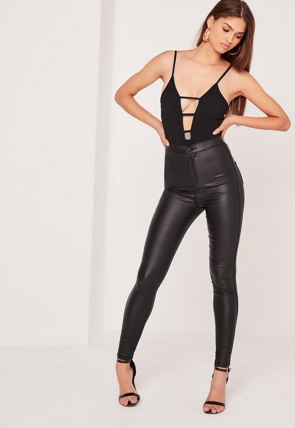 Lattice Front Tectured Bodysuit Black