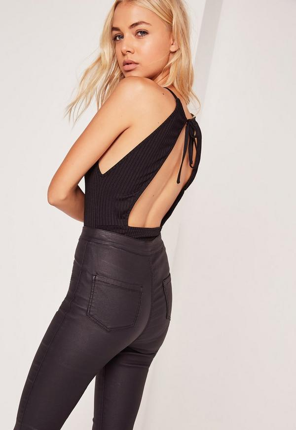 Ribbed High Neck Open Back Bodysuit Black