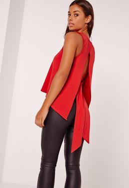 Tie Back Plunge Vest Red
