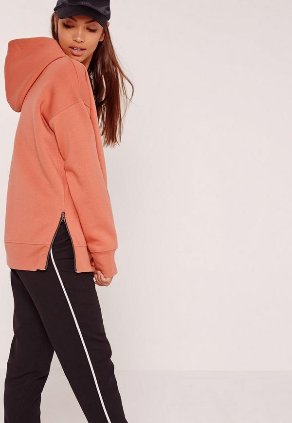 Zip Side Contrast Tie Hoodie Orange
