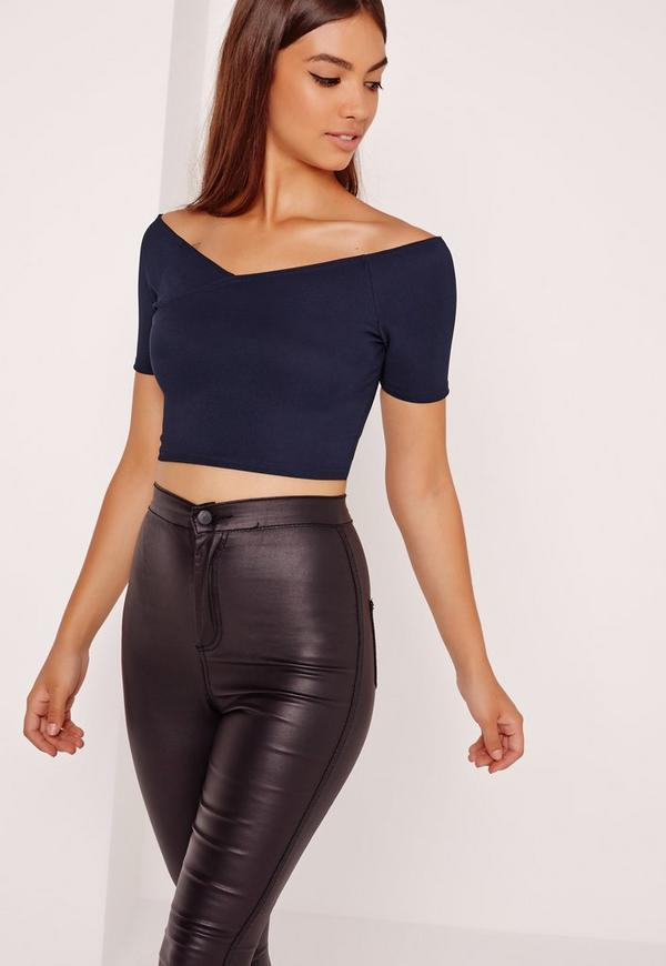Ribbed Wrap Detail Bardot Crop Top Navy