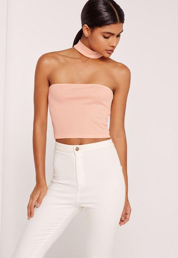 Ribbed Choker neck Top Nude