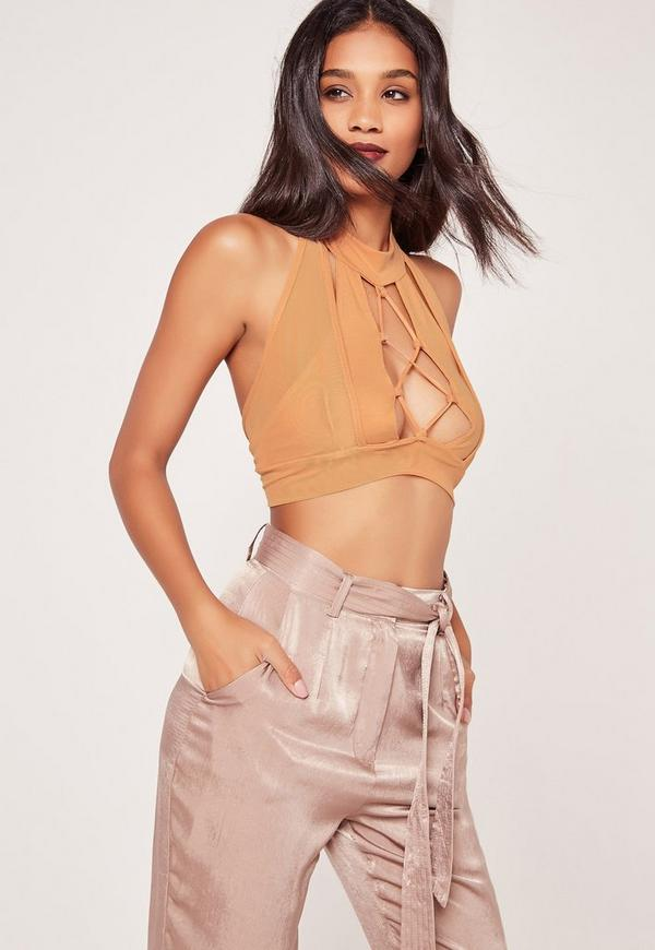 Lace Up Front Mesh Overlay Bralet Nude