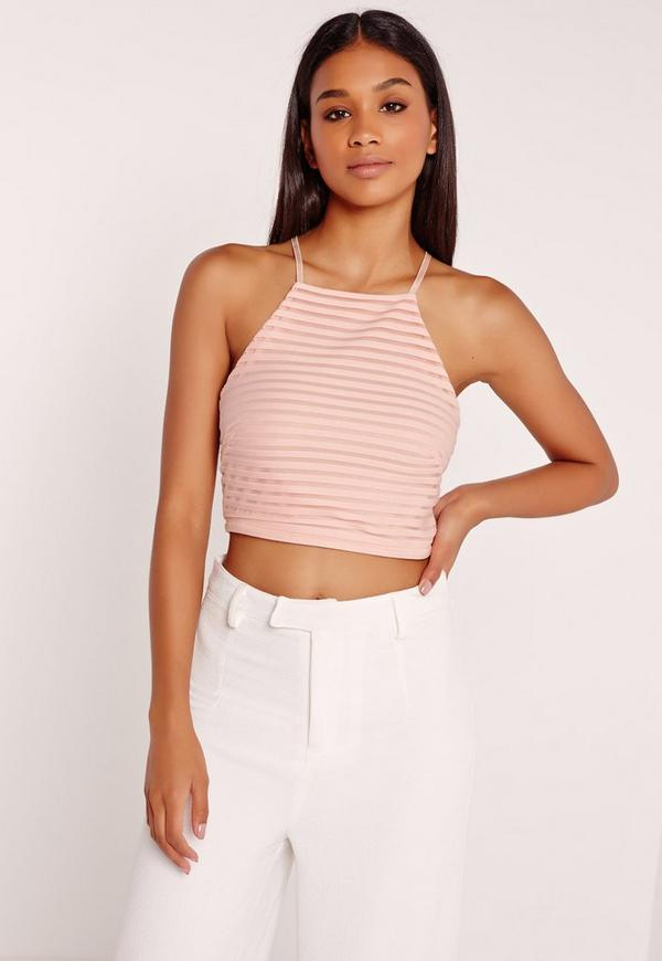 Sheer Stripe High Neck Crop Top Nude