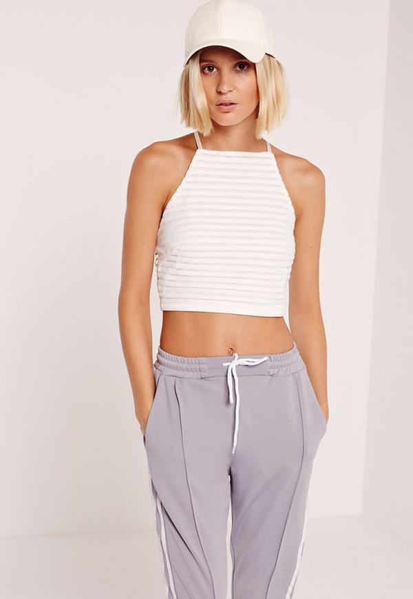 Sheer Stripe High Neck Crop Top White
