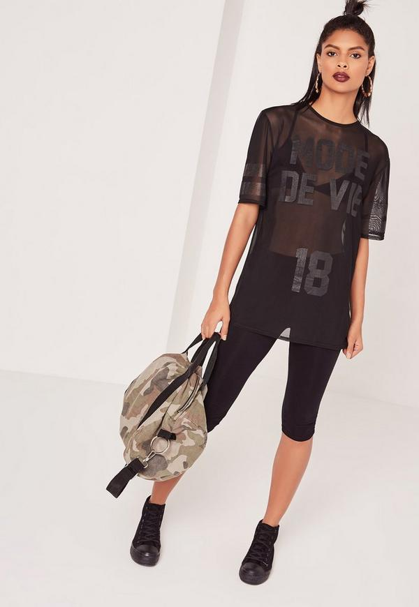Mesh Printed T-Shirt Black