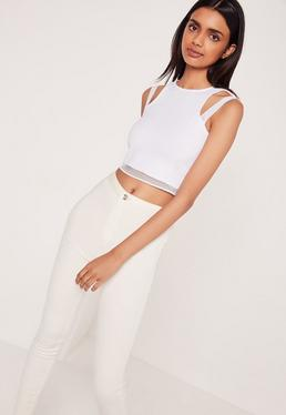 Airtex Double Strap Crop Top White