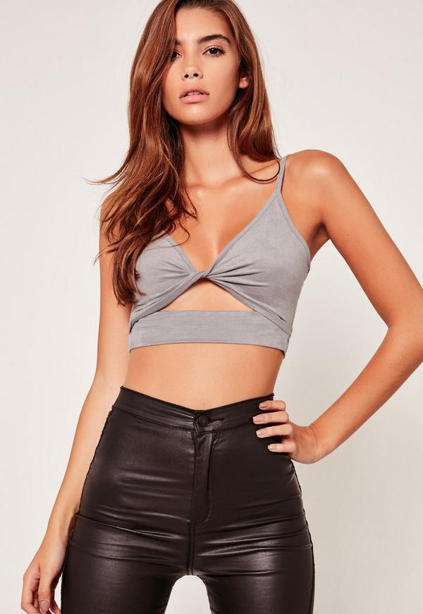 Faux Suede Twist Cut Out Front Bralet Grey
