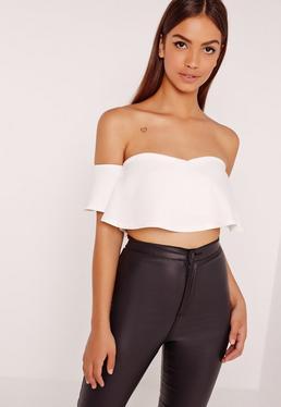 Frill Bardot Crop Top White