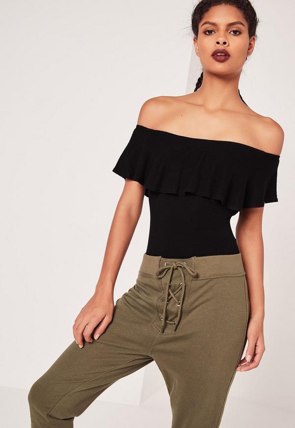Frill Bardot Ribbed Bodysuit Black