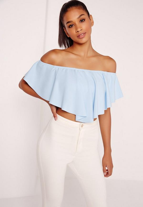 Frill Bardot Crop Top Blue