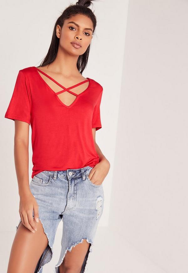 V Neck Cross Strap Front T Shirt Red