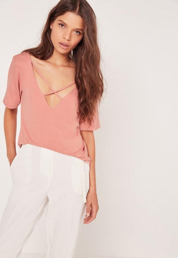 V Neck Cross Strap Front T Shirt Pink