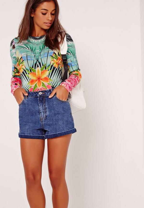 Tropical Print Long Sleeved Bodysuit