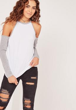 Contrast Sleeve Cold Shoulder Tunic White