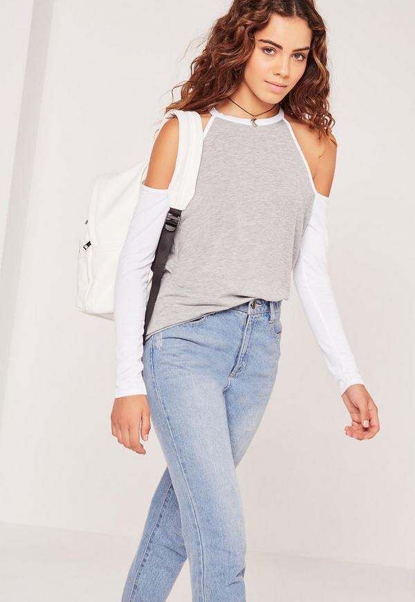 Contrast Sleeve Cold Shoulder Tunic Grey