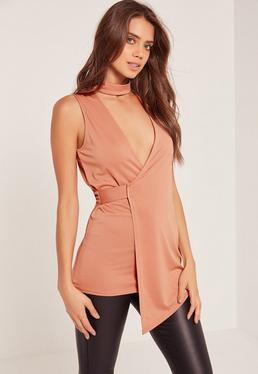 Choker Neck Sleeveless Wrap Tunic Pink