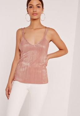 Pleated Strap Back Cami Top Pink