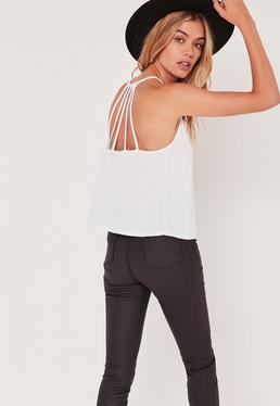 Harness Back Cami Top White