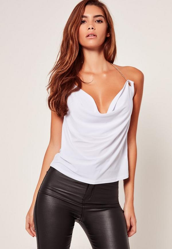 Gold Chain Cowl Neck Cami White