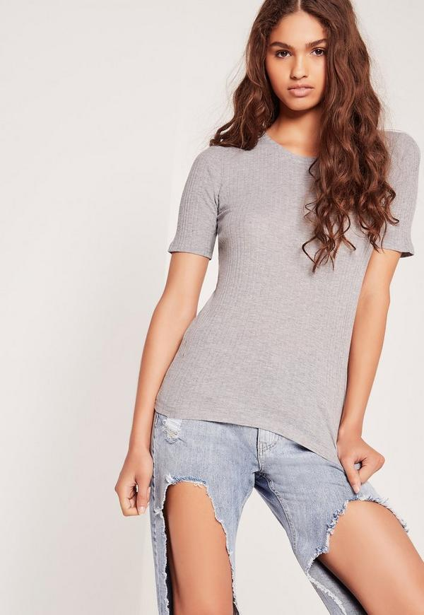Ribbed Fitted T Shirt Grey