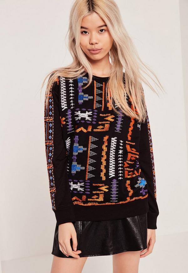 Embroidered Sweatshirt Black