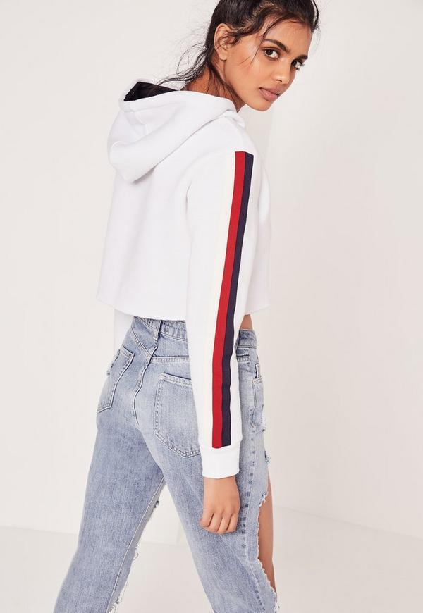 Stripe Sleeve Crop Hoodie White