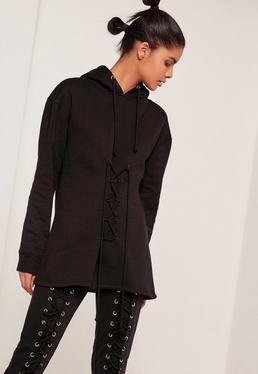 Lace Up Front Sweatshirt Black