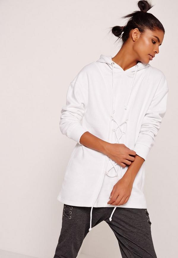 Lace Up Front Sweatshirt White