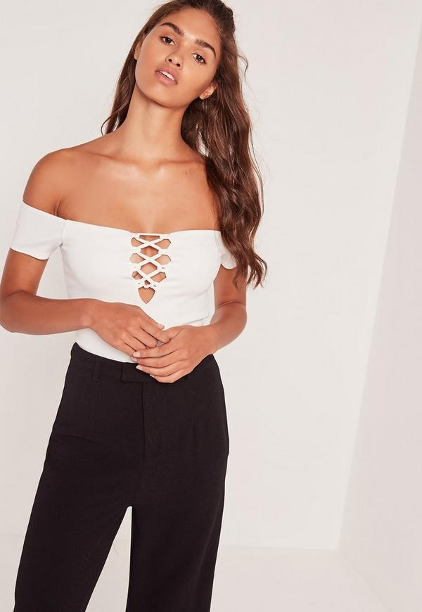 Lace Up Bardot Bodysuit White