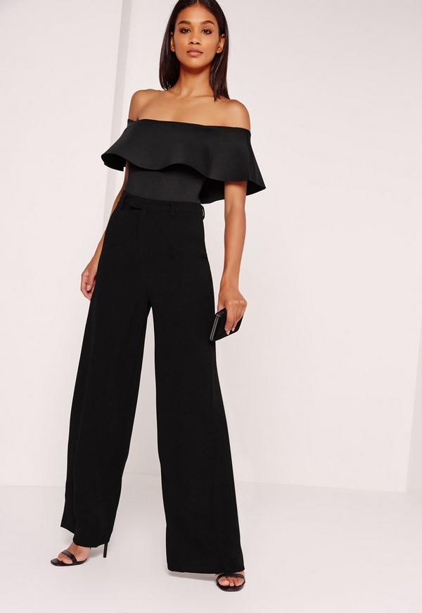 Scuba Bardot Bodysuit Black