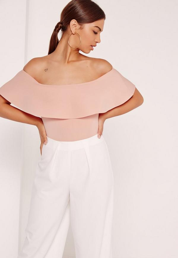 Scuba Bardot Bodysuit Pink