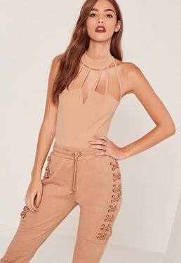 Strappy Neck Bodysuit Camel