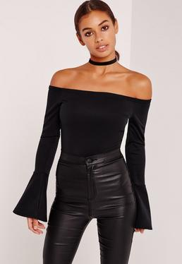 Flared Sleeve Bardot Bodysuit Black