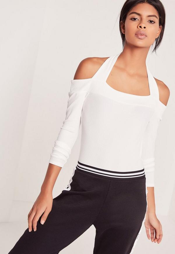 Halterneck Bardot Bodysuit White