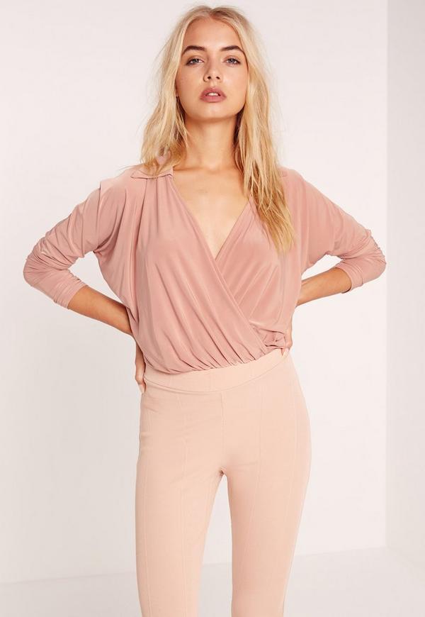 Jersey Blouse Bodysuit Pink
