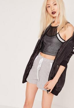 Mesh Overlay Crop Top Grey