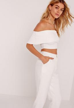 Crepe Bardot Cropped Top White