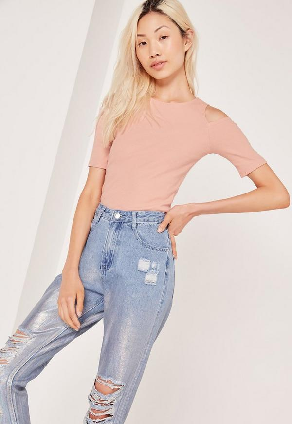 Cold Shoulder Short Sleeved Ribbed Crop Top Pink