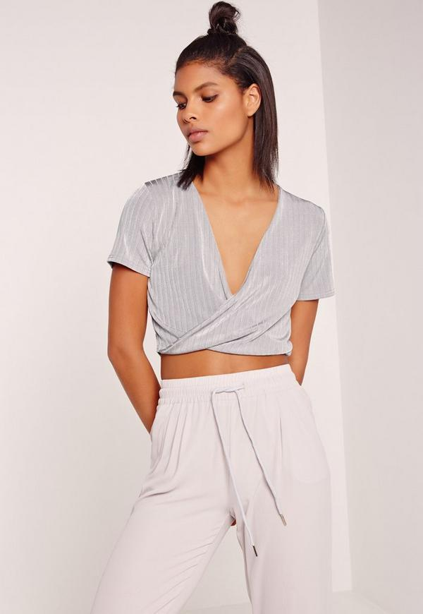 Slinky Rib Wrap Over Crop Top Grey