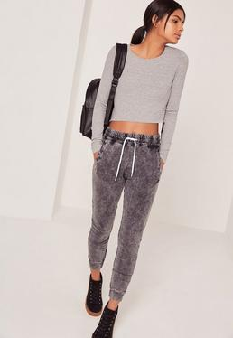 Harness Back Long Sleeve Crop Top Grey
