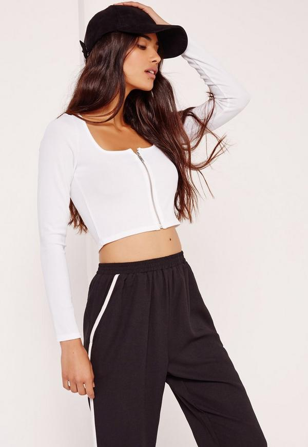 Square Neck Ribbed Zip Front Crop Top White
