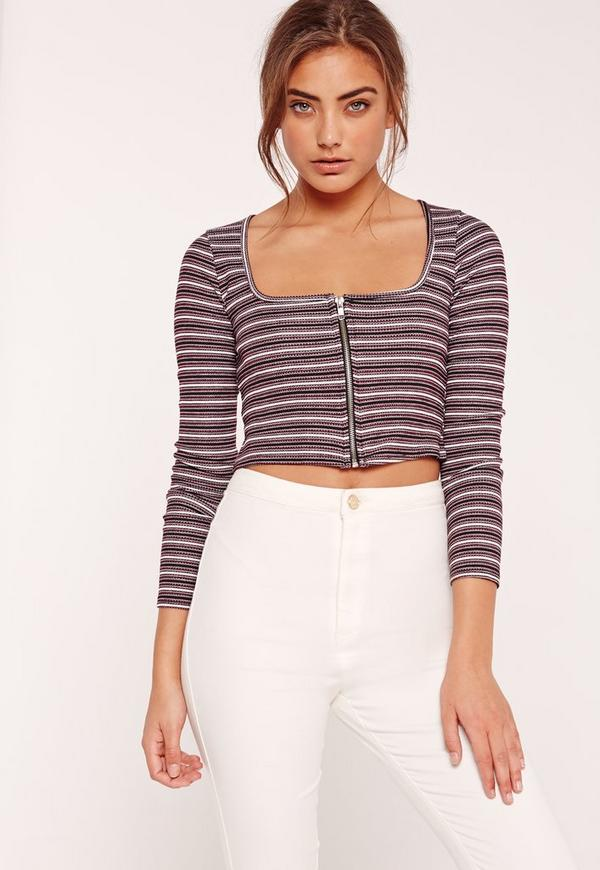Square Neck Rib Zip Front Stripe Crop Top Purple